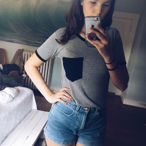 PACSUN size S colorblocked cropped tee